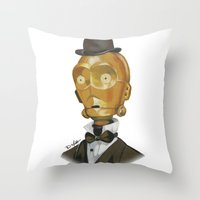 c3po Throw Pillows featuring Sir C3PO by theMAINsketch