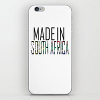south africa iPhone & iPod Skins featuring Made In South Africa by VirgoSpice