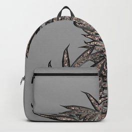 Gray Black Palm Leaves with Rose Gold Glitter #2 #tropical #decor #art #society6 Backpack