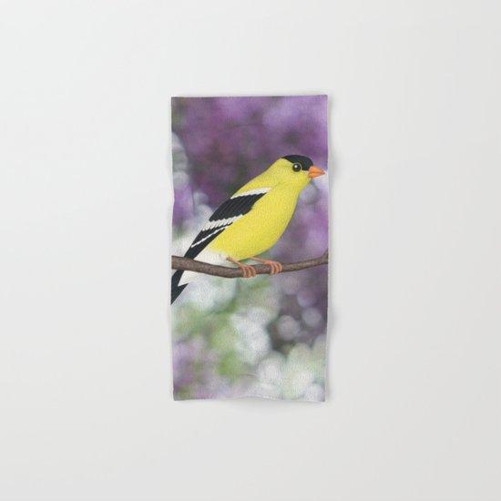 American goldfinch male bokeh Hand & Bath Towel