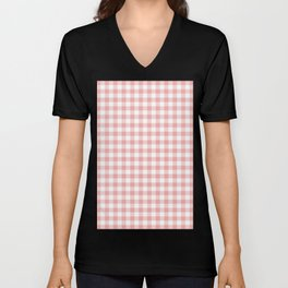 Lush Blush Pink and White Gingham Check Unisex V-Neck