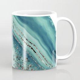 Teal Agate Rose Gold Glitter Glam #2 #gem #decor #art #society6 Coffee Mug