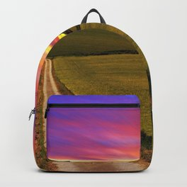 Lonely Tree On Hillside At Magnificent Evening Red Ultra HD Backpack