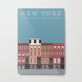 West Village, New York, NYC Travel Poster Metal Print
