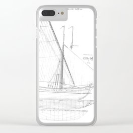 Vintage black & white sailboat blueprint drawing antique nautical beach or lake house preppy decor Clear iPhone Case