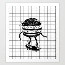 Cucumburger. Cucumber Burger on skateboard Art Print