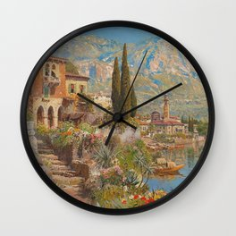 Lakeside View of Riva and Flower Gardens on Lake Garda, Italy landscape painting Wall Clock