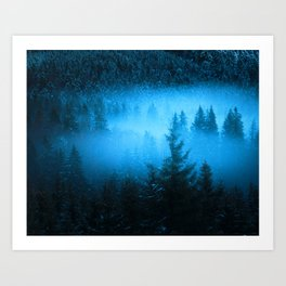 Magical fog in snowy spruce forest Art Print