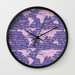Hello World Languages Ultra Violet Wall Clock
