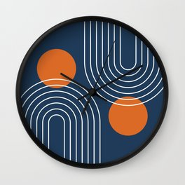 Mid Century Modern Geometric 83 in Navy Blue and Orange (Rainbow and Sun Abstraction) Wall Clock