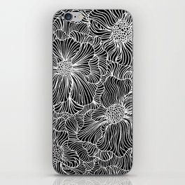 Flowers all over black iPhone Skin