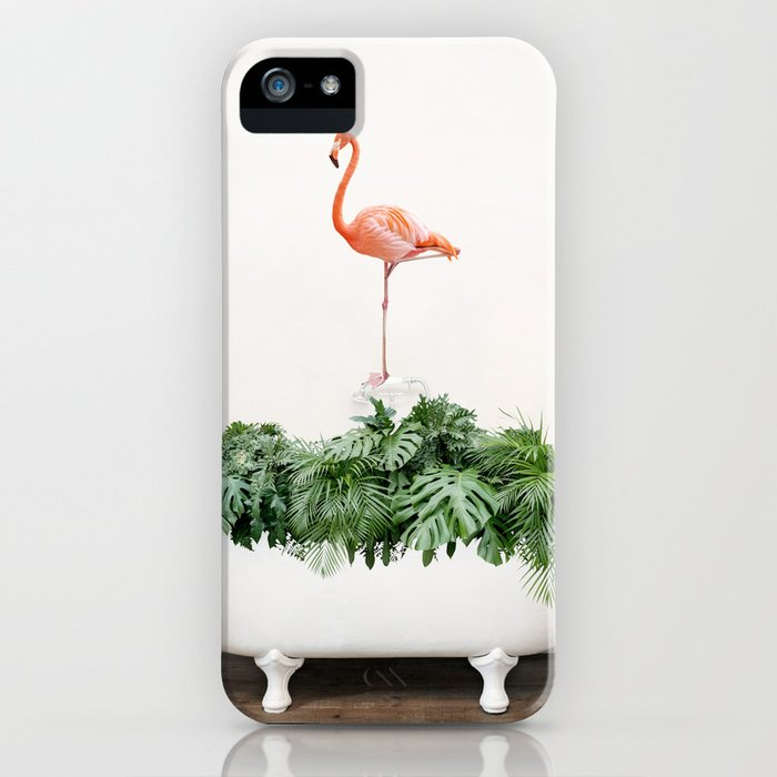 Tropical Flamingo in a Vintage Bathtub (c) iPhone Case