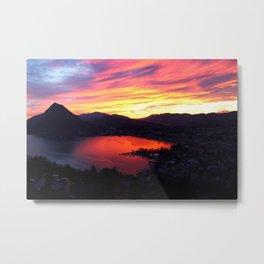 Sunset in Lugano Metal Print