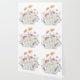 wild flower bouquet and blue bird- ink and watercolor 2 Wallpaper