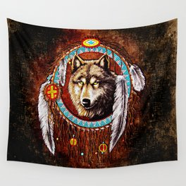 Wolf Dreamcatchers Wall Tapestry