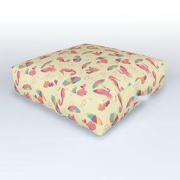 A Chance of Rain - Coral & Cream Outdoor Floor Cushion