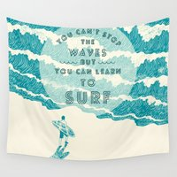 ilovedoodle Wall Tapestries featuring You can't stop the wave by I Love Doodle