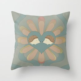 Hedge Hog Flower Power Throw Pillow