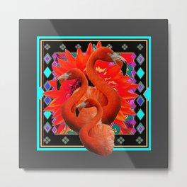CHARCOAL GREY ART DECO SAFFRON FLAMINGOS ART Metal Print