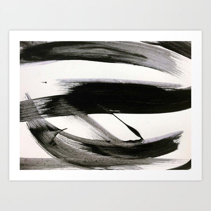 Brushstroke 9: a bold, minimal, black and white abstract piece Kunstdrucke