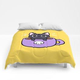 Happy Coffee Cat Comforters