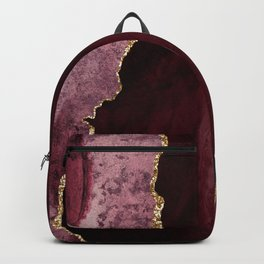 Agate, Burgundy Pink Faux Gold Backpack