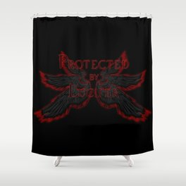 Protected by Lucifer Dark Shower Curtain