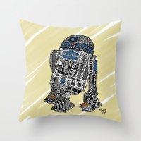 r2d2 Throw Pillows featuring R2D2 by Rebecca Bear