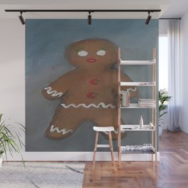 Gingerbread Man, oil painting by Luna Smith, LuArt Gallery, cookie Wall Mural