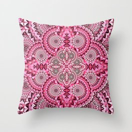 Deep Pink Magenta Retro Boho Psychedelica Floral Print Throw Pillow