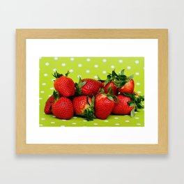 Red Strawberries on Lime Green Polka Dot Background Framed Art Print