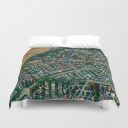 Farm vs City Aerial (Color) Duvet Cover
