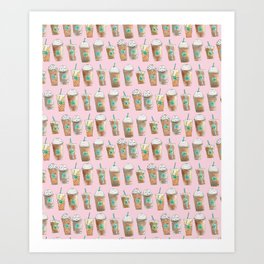 Coffee Cup Line Up in Pink Berry Art Print