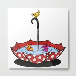 Swimming Birds Metal Print