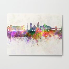 Mexico City V2 skyline in watercolor background Metal Print