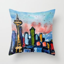 Seattle by Starlight Throw Pillow