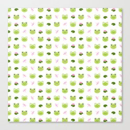 Frogs, Dragonflies and Lilypads on White Canvas Print