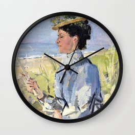 At The Beach - Portrait Of Martha Salomon - Digital Remastered Edition Wall Clock