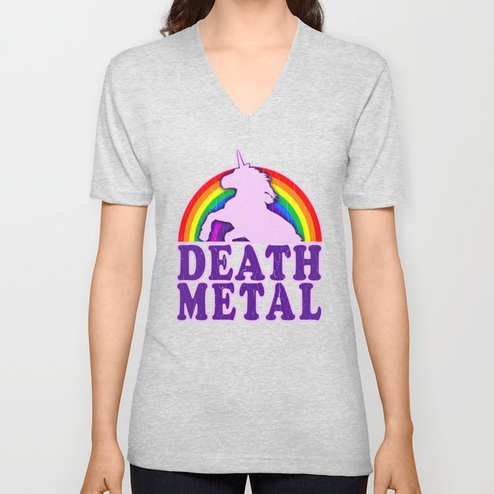 08417178 Funny Death Metal Unicorn Rainbow T-Shirt Unisex V-Neck by ...