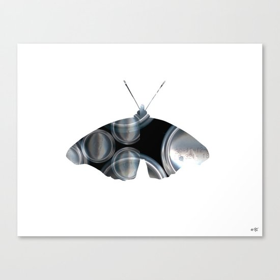 Metal Can Butterfly Collage Canvas Print