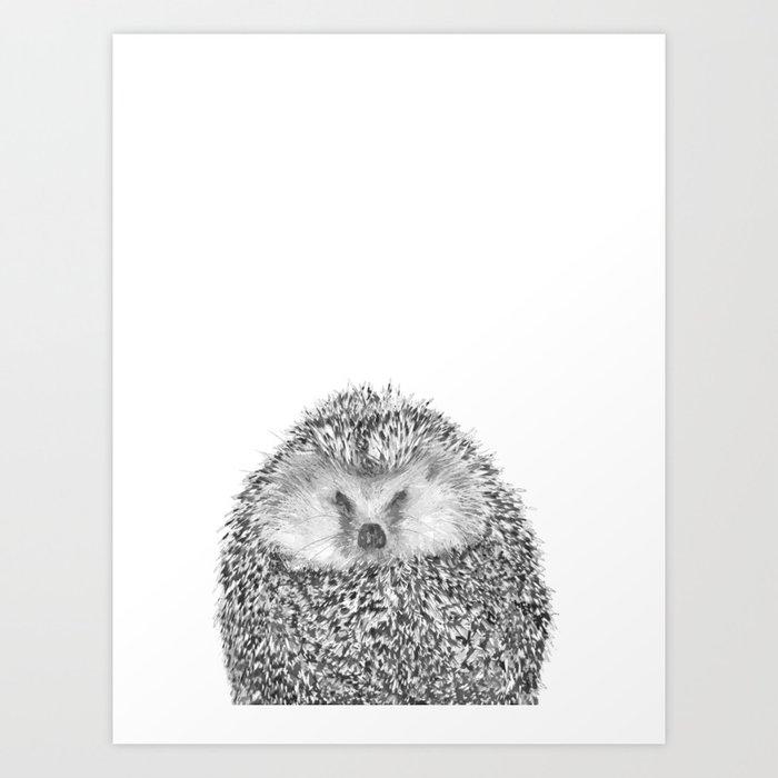 Black and White Hedgehog Art Print