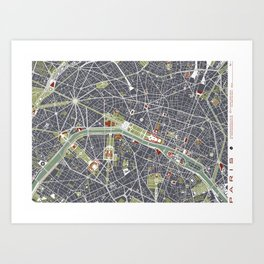 Paris city map engraving Art Print