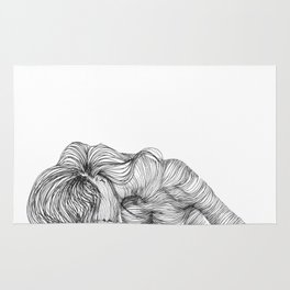 line drawing of a nude model Rug