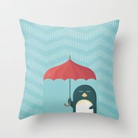 penguin Throw Pillows featuring Penguin by Travel Poster Co.