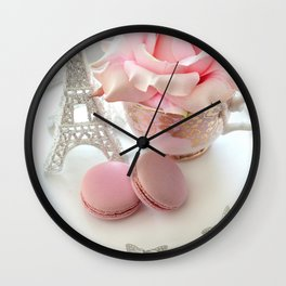 Shabby Chic Paris Pink Macarons Eiffel Tower Roses Romantic Prints and Home Decor Wall Clock