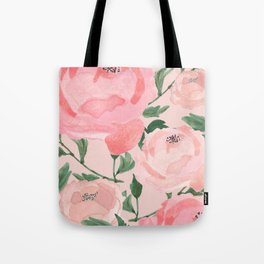 Watercolor Peonies with Blush Background Tote Bag