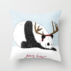 Festive Panda Throw Pillow