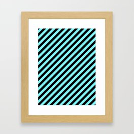 Electric Blue and Black Diagonal RTL Stripes Framed Art Print