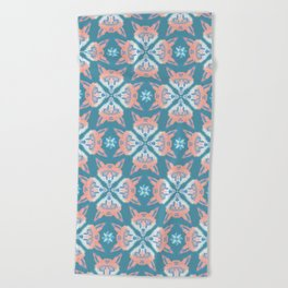 Pastel Fox Pattern Beach Towel