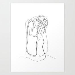The Kiss by Gustav Klimt - minimal one line drawing Art Print